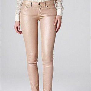 Lucky Brand Pink Gold Metallic Skinny Jeans 2/26